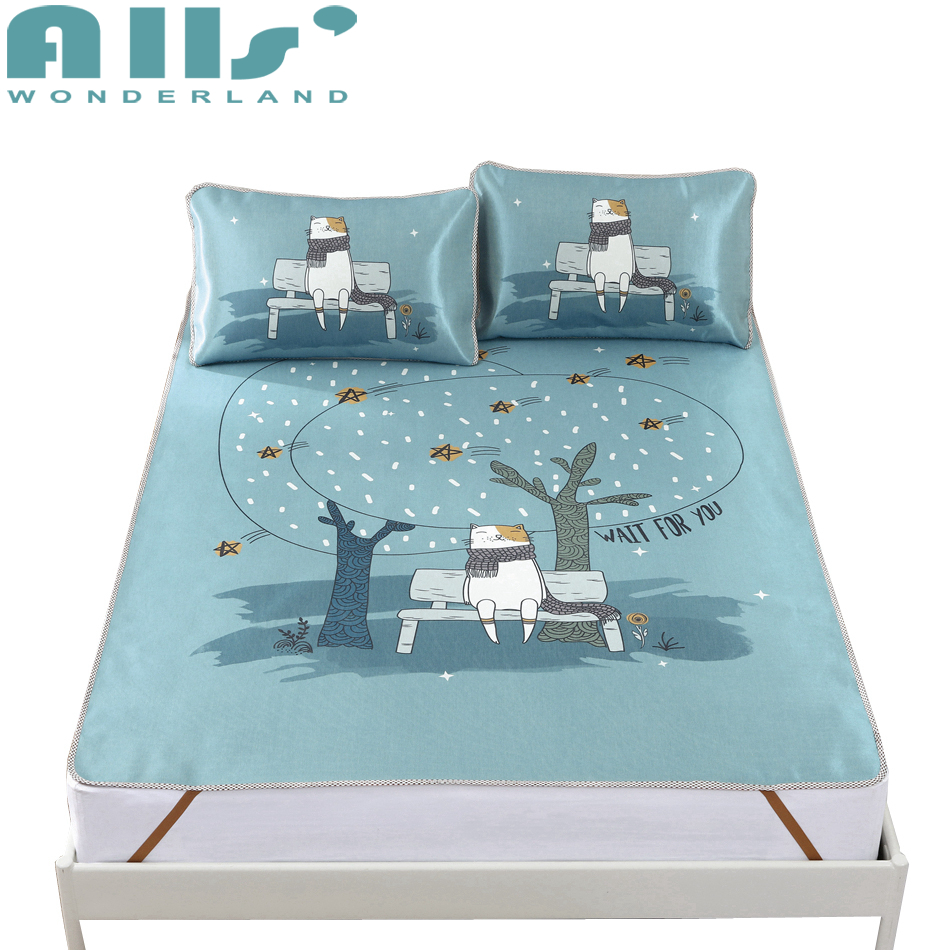 Cute Cat Bed Pad Fashion Design Mattress Cooling Pad Modern Decoration For Bedroom Cool Feeling High Quality Bed Protector