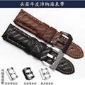 Faixa de Relógio de couro genuíno pulseira de Relógio Panerai 24mm pulseira PAM111 moderno Marrom Preto dos homens