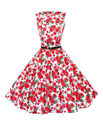Женщины 60 s 50 s Платье Элегантные Старинные Рокабилли Pinup Цветочный Принт Платья XXL Женщины Синий Красный Платья для Женщин 2016