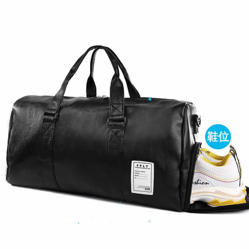 למעלה באיכות עור מפוצל נסיעות תיק גברים/נשים יד מזוודות תיק שחור תרמילי נסיעות גדול קיבולת דובון טוטס בסוף השבוע תיק