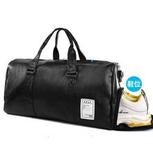 Top Quality PU Leather Travel Bag Men/Women Hand Luggage Handbag Black Duffel Bags Big Capacity Duffle Totes weekend bag