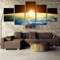 2016 Peinture À L'huile 5 Pièce Planète Terre avec un spectaculaire coucher du soleil Maison Décor de Mur de Toile Photo Art Hd Impression Tableau Peinture