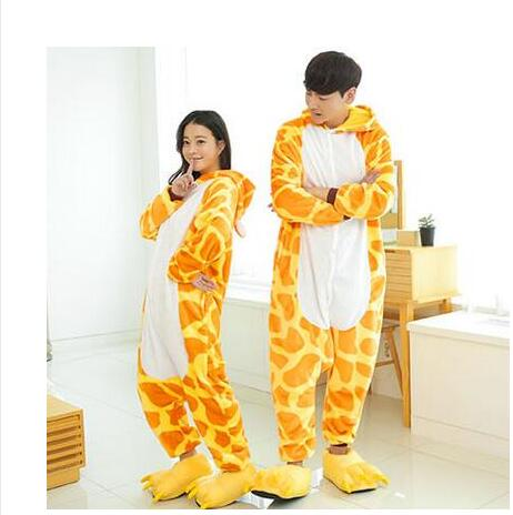 Adult Flannel Giraffe Pajamas Onesies Cosplay Costume Children Cartoon Animal Sleepwears ...