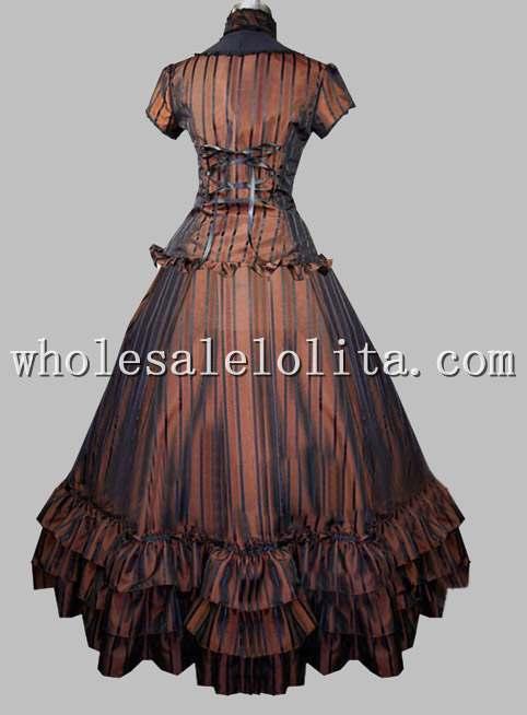 Два предмета готический коричневый вертикальные полосы евро суд платье бальное платье