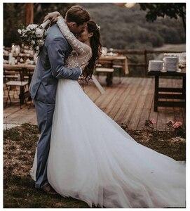Image 4 - LORIE Dài Tay Áo Boho Wedding Dress 2019 Phồng Vải Tuyn Appliques Ren A Line Tulle Cô Dâu Cổ Điển Dresses Wedding Gown