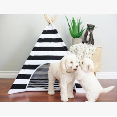 2017 New White Black Stripped Wooden Stickers Tents For Small Dog Cats Puppy Bed Teddy Indoor House Bed Pet Supplies Cama Perro