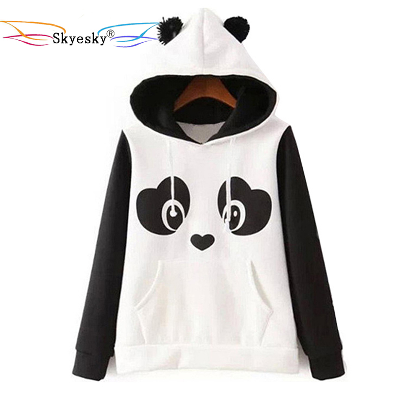 Women hoodies with ears panda pocket hoodie men hoodie sweatshirt hooded pullover cute kawaii blouse jacket