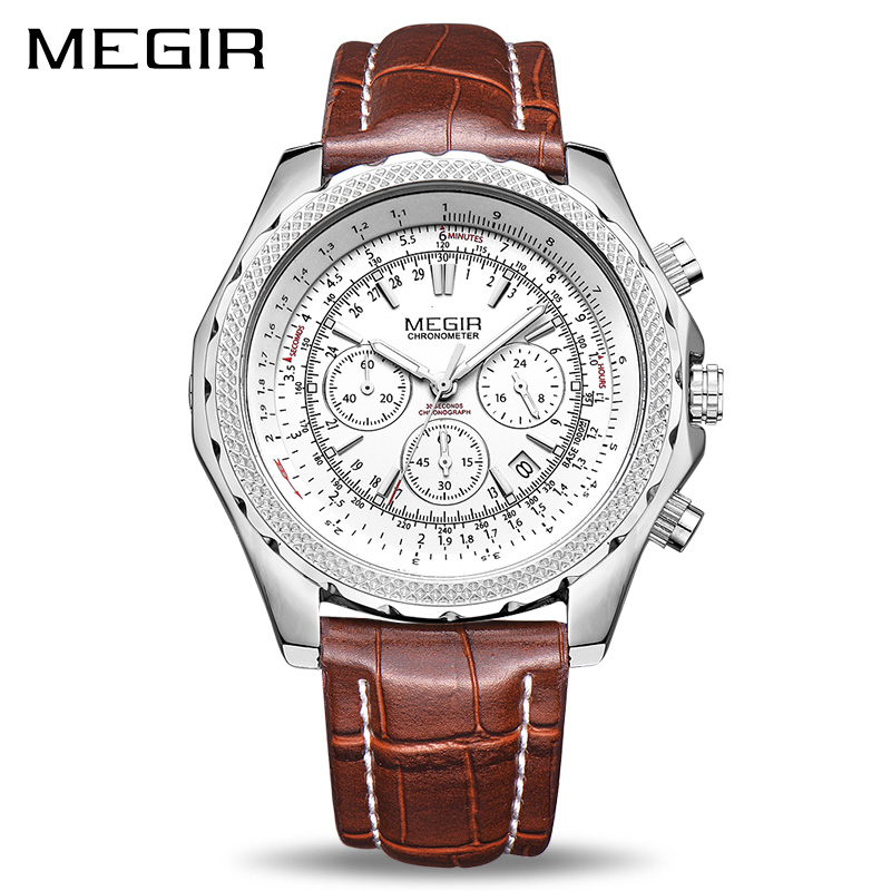 MEGIR Top Brand Luxury Quartz Men Watch Fashion Luminous Hands Leather Business Wrist Watches Men Clock Hour Relogio Masculino