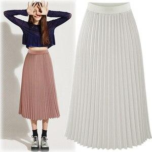 Image 4 - ARiby Women Long Pleated Skirt faldas mujer moda 2019 New Summer Chiffon Sweet Solid Pleated Skirt Elastic Waist Empire Skirt