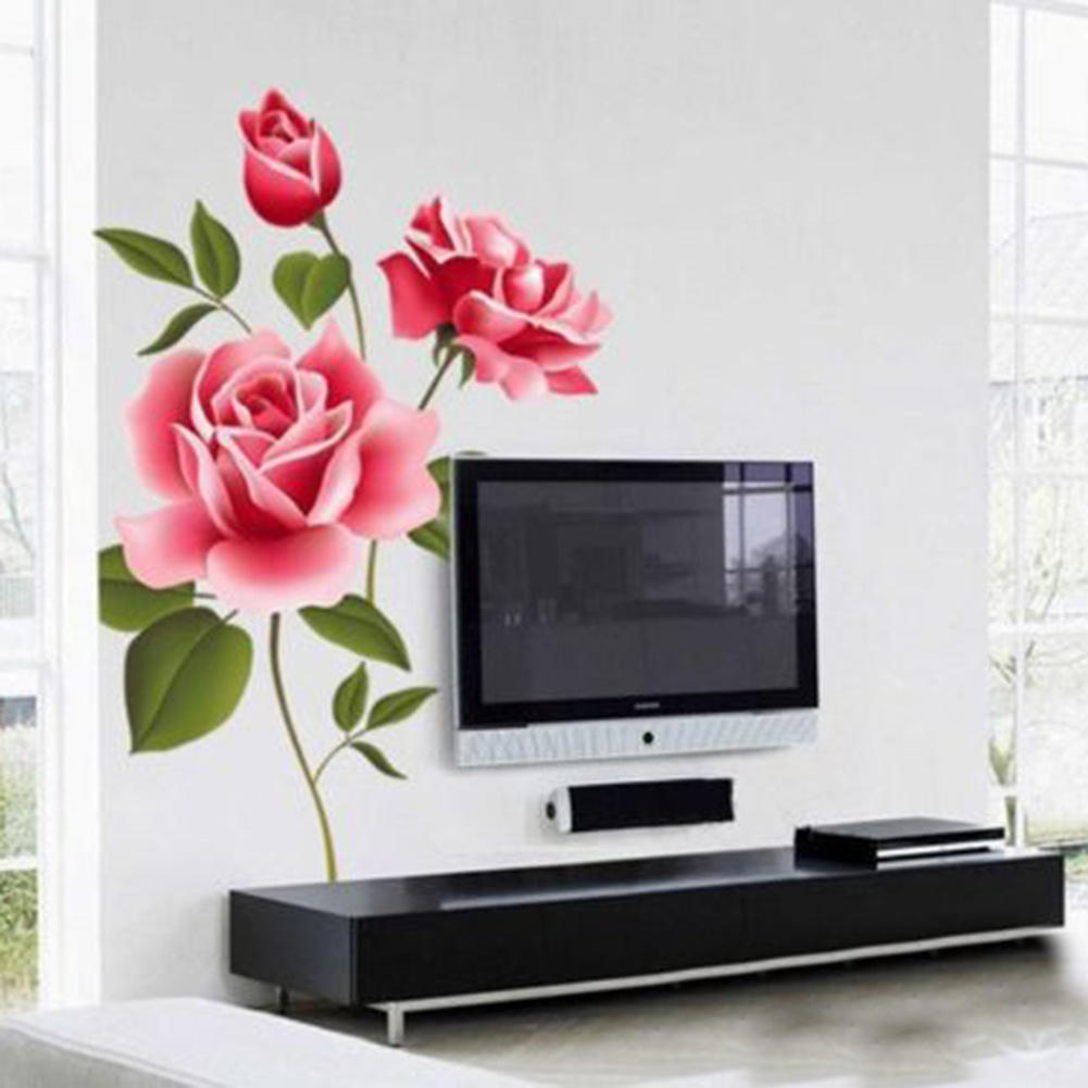 Big Roses Flowers Vinyl Wall Stickers Home Decor Diy