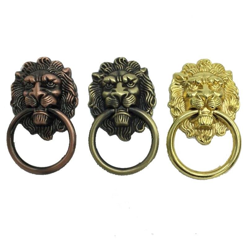 5pcs Antique Brass Golden Vintage Bronze Metal Lion Head