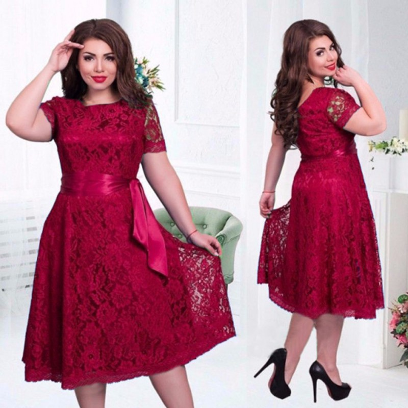 Women Dress Summer 2018 European Style Vintage Sexy Elegant Dress Fit and Flare Empire Lace Sashes Party Women Dress Plus Size