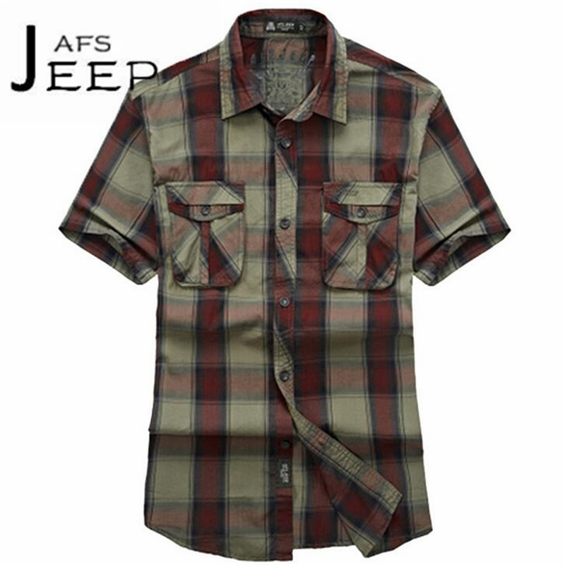 JI PU Good Quality Mans Casual Big Plaid Short Sleeve Original Brand Shirts,Widen leisure camisa de la motocicleta M to 3xl