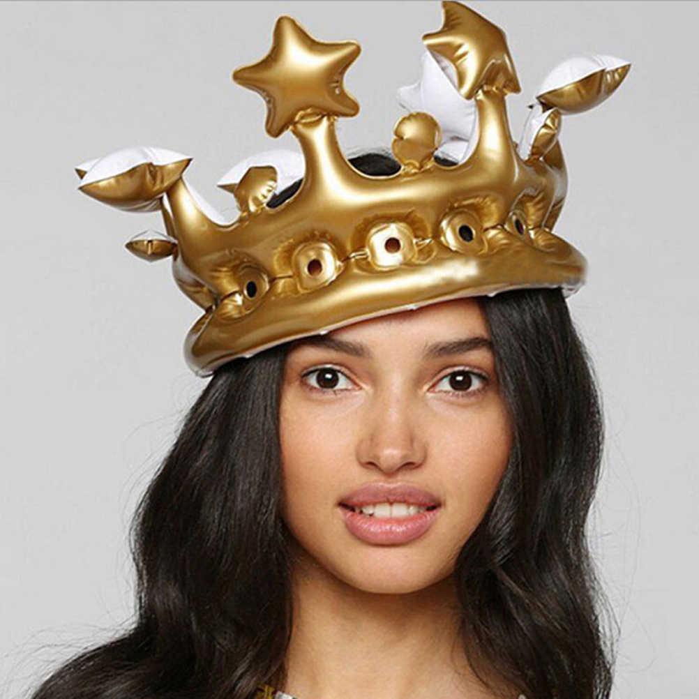 Roi reine jour Costume Halloween décor gonflable or couronne enfants fête d'anniversaire chapeau CosPlay outil scène Prop cadeau fête ballon