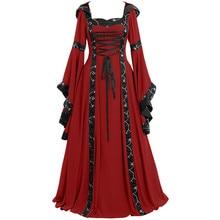 Maxi vestidos con volantes para mujeres Vintage céltico Medieval hasta el suelo renacentista gótico vestido de Cosplay señoras elegante vestido Midi