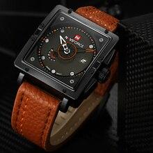 NAVIFORCE Brand Fashion Casual Men's Wristwatches Business Leather Analog Quartz Men Watch