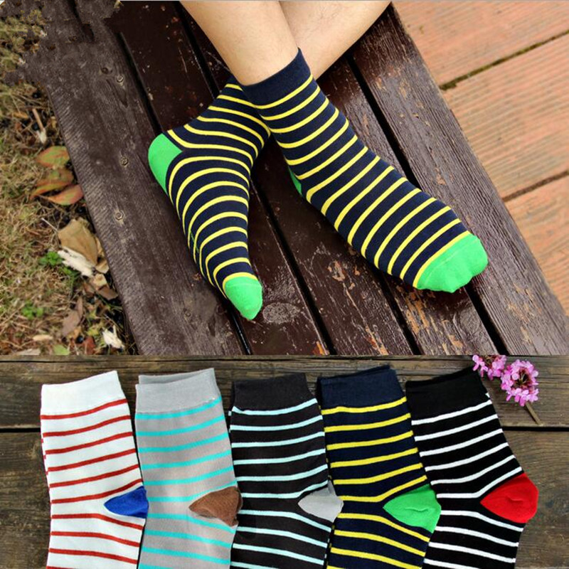 1 Pair high quality Cotton Mens casual Sock Fashion Colorful Striped Socks male men cotton dress socks calcetines