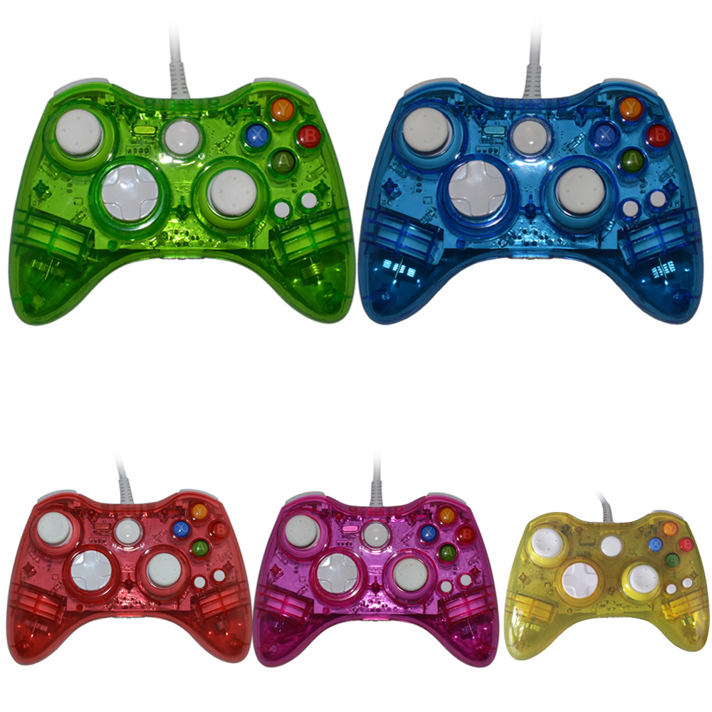 Wired PC USB Controller gamepad joystick for xbox360 Game Controller LED Light for Xbox 360 20 x new lb rb button bumper resistance button for xbox 360 wireless and wired controller joystick for xbox360 replace
