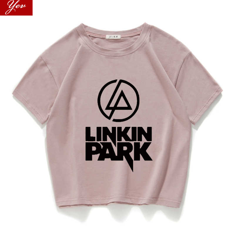Fashion high quality Linkin Park Women tshirt Girl Casual 100% Cotton Short T-shirt women loose crop top Summer women tops tee