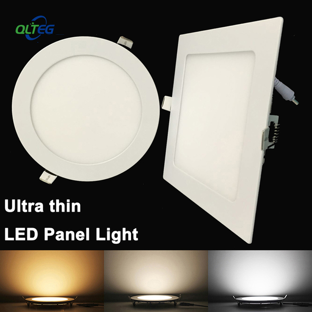 Ultra Thin LED Panel Downlight 3W 6W 9W 12W15W 18W Round/ Square LED Ceiling Recessed Light AC85-265V LED Panel Light bulb