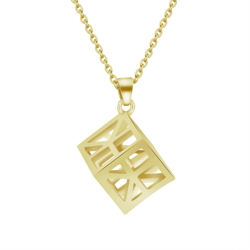 Cube Pendant 3D Minimal Geometric Necklace For Women Punk Jewelry Stainless Steel Charm Chain 2017 New Collier Femme Bijoux Bff chain