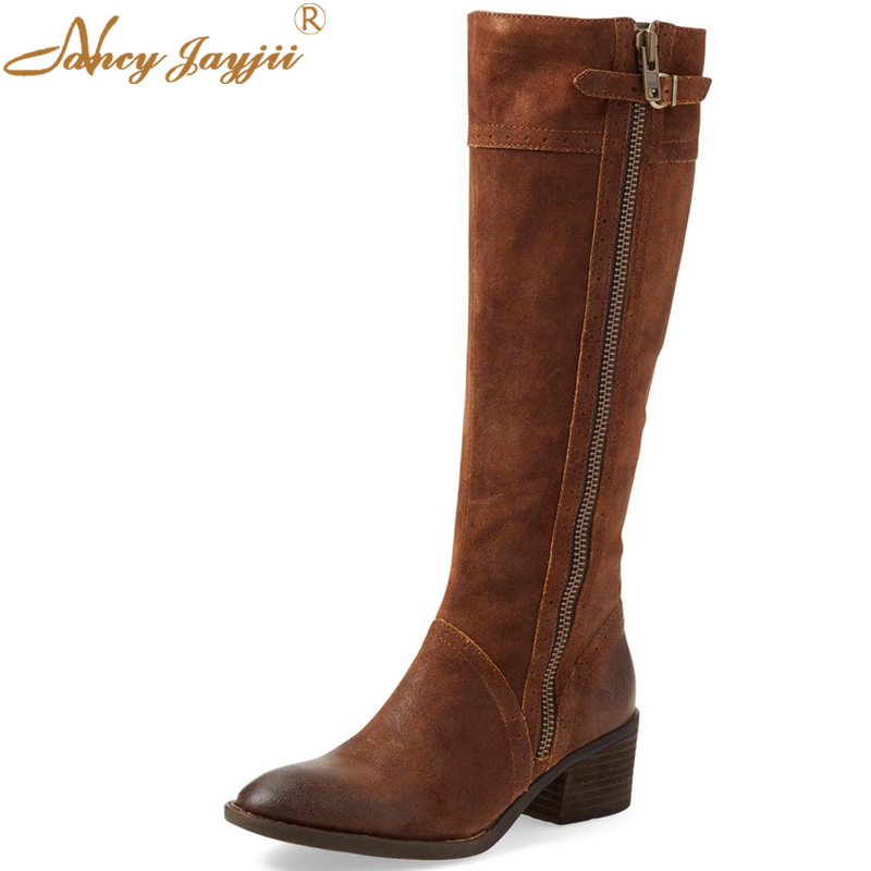BC Woman Newest Spring Brown&Black Pleather Round Roe Flat Heel Zipper Side Mid-Calf Basic Boots Women Shoes,Booties,Big 4-16. new arrival superstar genuine leather chelsea boots women round toe solid thick heel runway model nude zipper mid calf boots l63