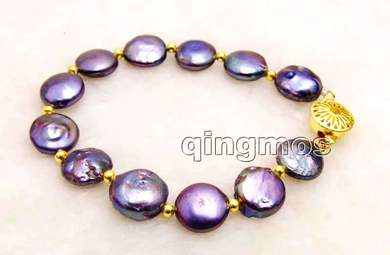 Big 12-13mm Black Coin Round Natural Freshwater Pearl 7.5'' Bracelet-bra335 Wholesale/retail Free shipping