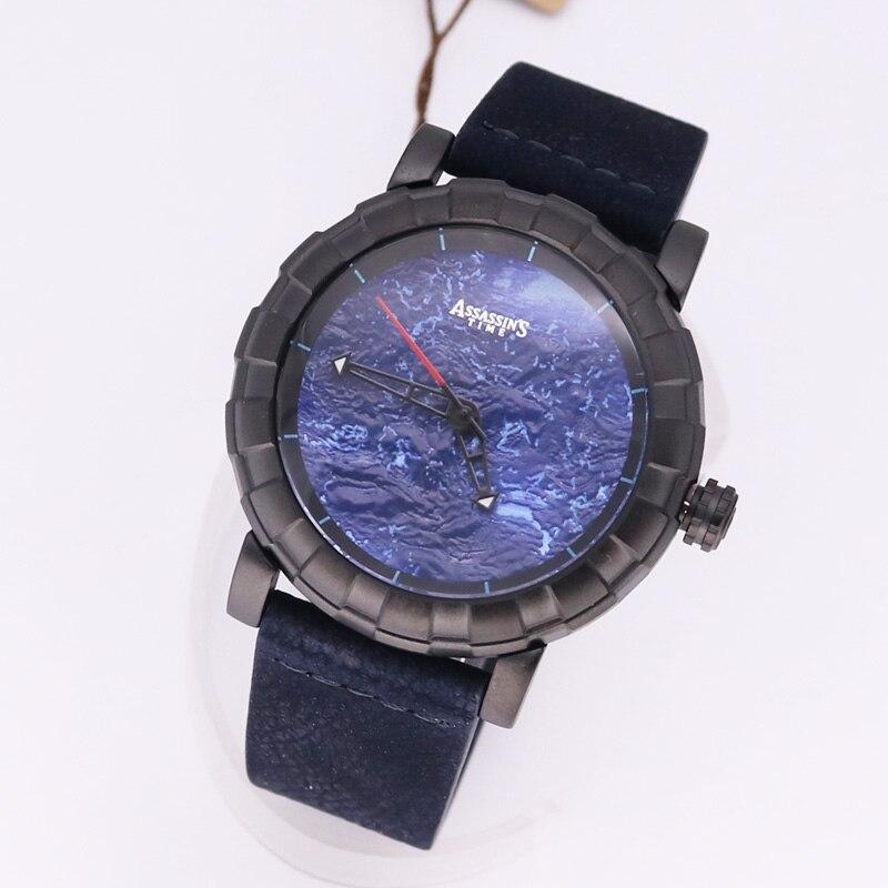 Assassins Time Mens Watch Japan Quartz Lunar Man Hours Punk Fire Fine Fashion Clock Genuine Leather Boys Birthday Gift Box