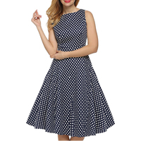 New Collection Ladies Fashion Dresses Women O neck Sleeveless Polka Dot Printed A line Tank Dresses Casual Dress