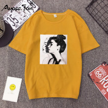 2019 Nieuwe Mode T-shirts Vrouw Lente Zomer Meisjes Print Korte Mouw O-hals T-Shirt Losse Vrouwen Tops Slim Fit Zachte Dame tshirt(China)