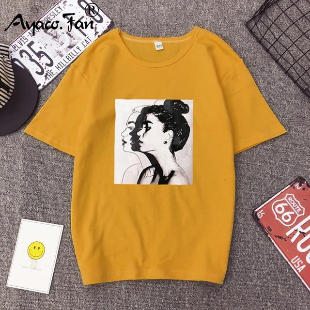 2019 nuevas camisetas de moda mujer Primavera Verano niñas estampado de manga corta cuello redondo Camiseta suelta mujeres Tops Slim Fit Soft Lady camiseta