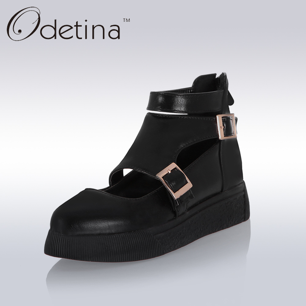 Odetina Women Ankle Straps Summer Booties 2017 Fashion Hollow Black Casual Shoes Platform Ladies Back Zipper Flat Shoes Big Size odetina 2017 new fashion genuine leather women platform flat ankle boots lace up casual booties autumn winter shoes big size 43