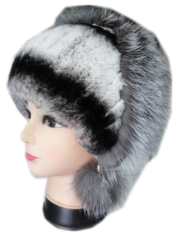 ladies women fur hat autumn winter new  fur hat of natural rex rabbit and silver fox fur with pompom H149