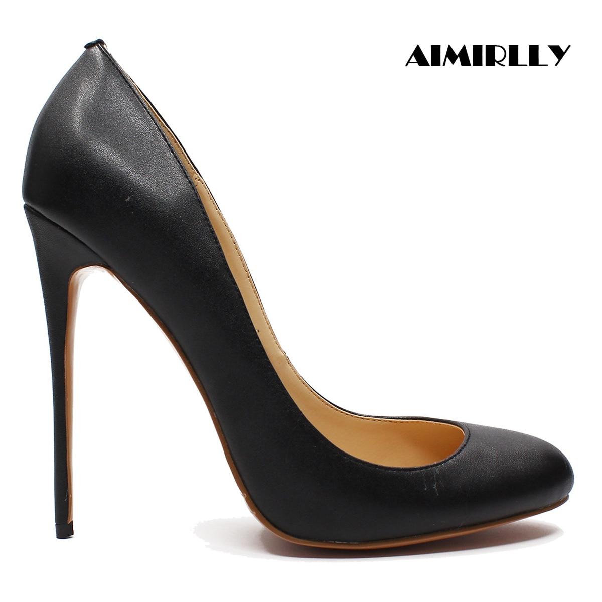 Aimirlly 女性の靴ラウンドトウハイヒールパンプスハイヒール春秋のワークキャリア薄型かかと本革黒  グループ上の 靴 からの レディースパンプス の中 1