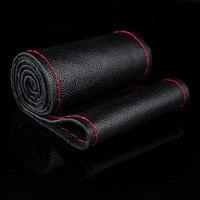 Car Styling Black DIY Genuine Leather Cowhide Car Steering Wheel Cover Breathabel Cool Antislip Car Accessories