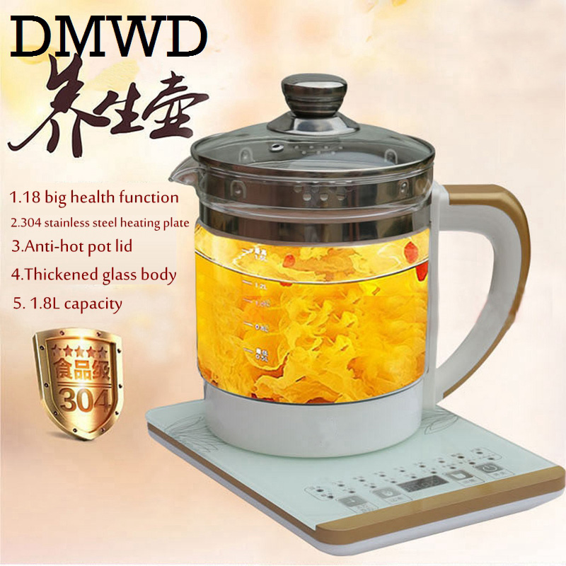 DMWD Electric kettle eggs slow cooker teapot multifunction porridge stew pot hot water boiler timing milk heater 1.8L 110V 220V cukyi household 3 0l electric multifunctional cooker microcomputer stew soup timing ceramic porridge pot 500w black