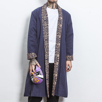 Male Fashion Casual Long Kimono Jacket Outerwear Overcoat Men Chinese Style Long Sleeve Trench Cardigan Coat Outwear 5XL