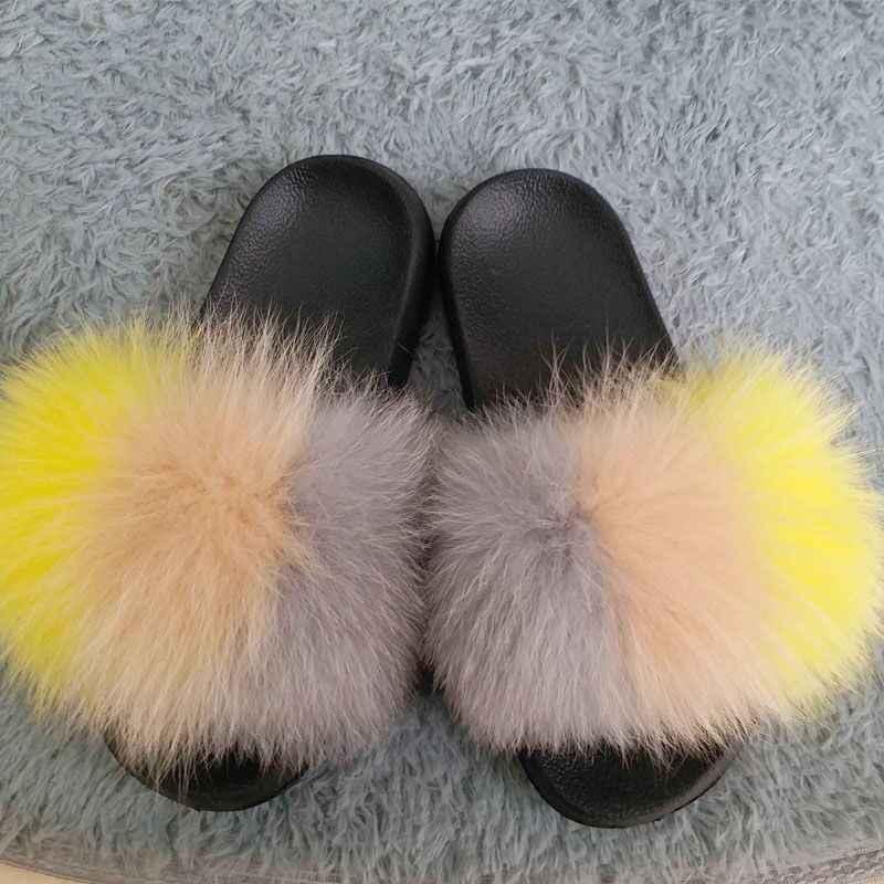 2019 zapatillas de pelo de zorro para mujer, Zapatillas de piel para el hogar, esponjosas y peludas de verano, zapatos dulces para mujer, talla grande 45 caliente venta