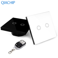 AC 220V 433MHZ Smart Touch Switch White Black Wall Touch Screen Switch Luxury Crystal Glass Switch