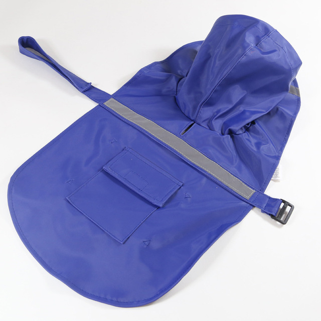 Large Dog Raincoat with Reflective Tape Safety Feature