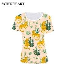 WHEREISART Leopard Printed Short Sleeve Women Casual Tee T Shirt Summer Slim Neck Temperament Lady Clothes Femme Top Beach Style