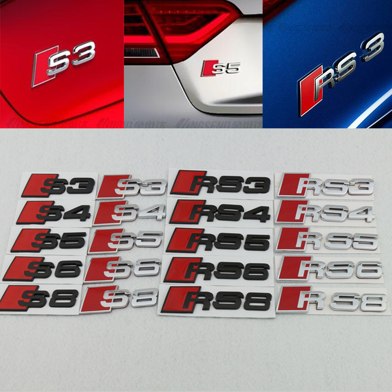 1pcs 3D Metal Emblems RS3 RS4 S3 S4 S5 S6 S8 Car emblem Sticker Modification 3D Auto Metal Car Badge for A3 A4 A5 A6 A6L A8 A8L