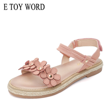 E TOY WORD Flat sandals 2019 summer womens comfortable wild Thick bottom beach sweet flowers women shoes