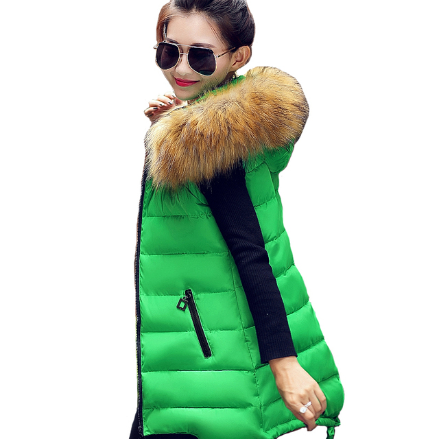 Women Winter Vest Waistcoat 2016 Womens Long Vests Sleeveless Jacket Faux Fur Collar Hooded Down Cotton Warm Vest Female