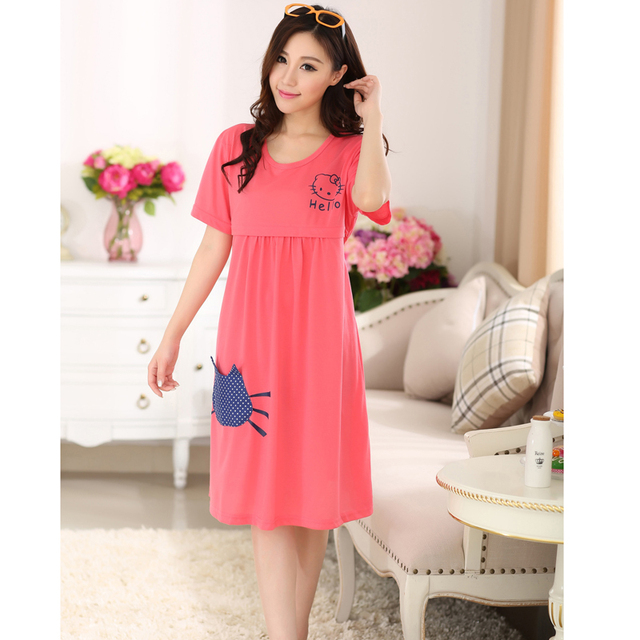 391f5d5c3 Breastfeeding maternity sleepwear nursing clothes for pregnant women soft  cotton maternity pajamas dresses homewear short sleeve