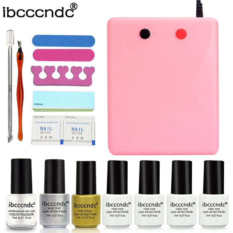 Professional Nail Art Set Manicure Tools Kit UV Gel Nail Sets 36W UV Lamp + 4 Colors 7ml Gel Polish Base Top Coat with Remover new 24w professional uv led nail gel 9c lamp of resurrection nail polish tools and portable five soaked nail gel art set