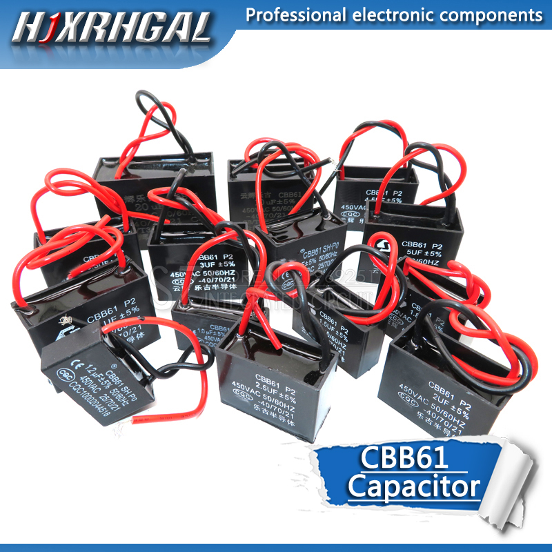 1PCS CBB61 1UF 1.5UF 2UF 2.5UF 3UF 3.5UF 4.5UF 10UF 20UF Start Capacitor Hanging Fan Soot Motor Air Conditioner 450VAC Hjxrhgal