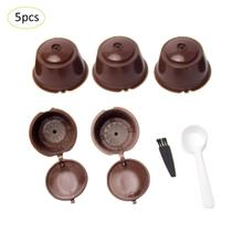 5pcs Coffee Filter Basket Capsules Reusable Refillable Nescafe Capsule Cup Cafeteira Dolce Gusto Caps Spoon Brush