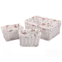 Small Large Woven Wicker Storage Baskets Bins Zakka Rectangular Containers Drawers Organizer Box Cesto De Roupa