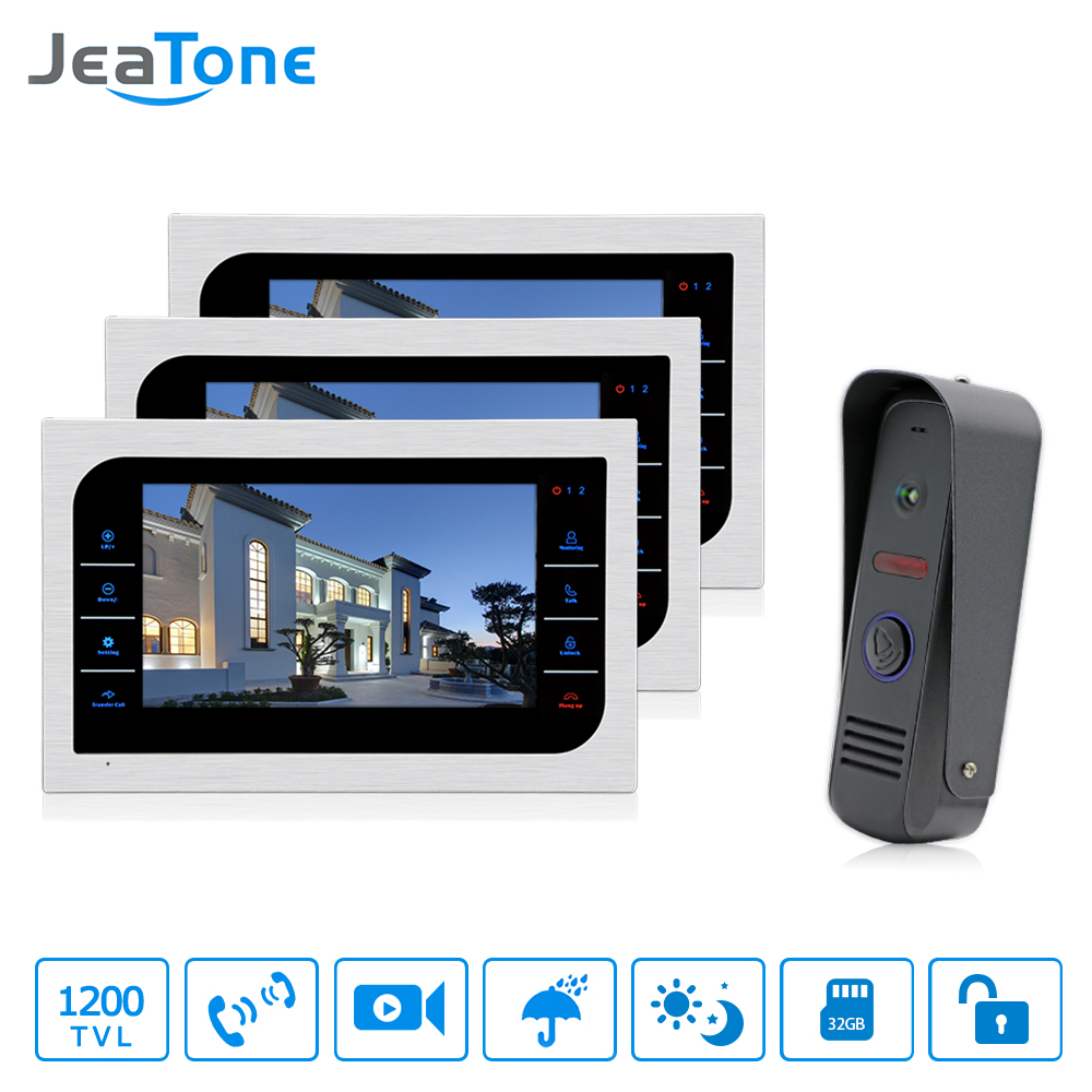 JeaTone 3pcs 10 Video Door Phone Recording +1200TVL IR Night Doorbell Camera Home Securiy Hands-free Monitors Intercom System